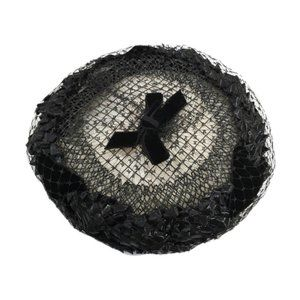 Vintage Black Pillbox Woven Faux Straw Net Hat